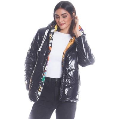 Members Only Womens Hi-Shine Chevron Quilt Puffer Jacket with Nickelodeon Mashup Print Lining