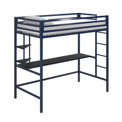 Twin Maxwell Metal Loft Bed with Desk & Shelves Blue/Black - Novogratz