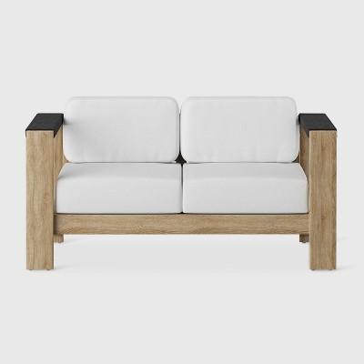 Montpelier Wood Patio Loveseat with Sunbrella Fabric - White - Smith & Hawken™