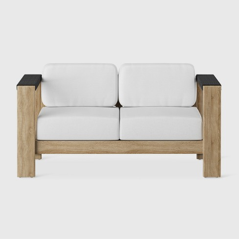Montpelier Wood Patio Loveseat with Sunbrella Fabric - White - Smith & Hawken™ - image 1 of 4