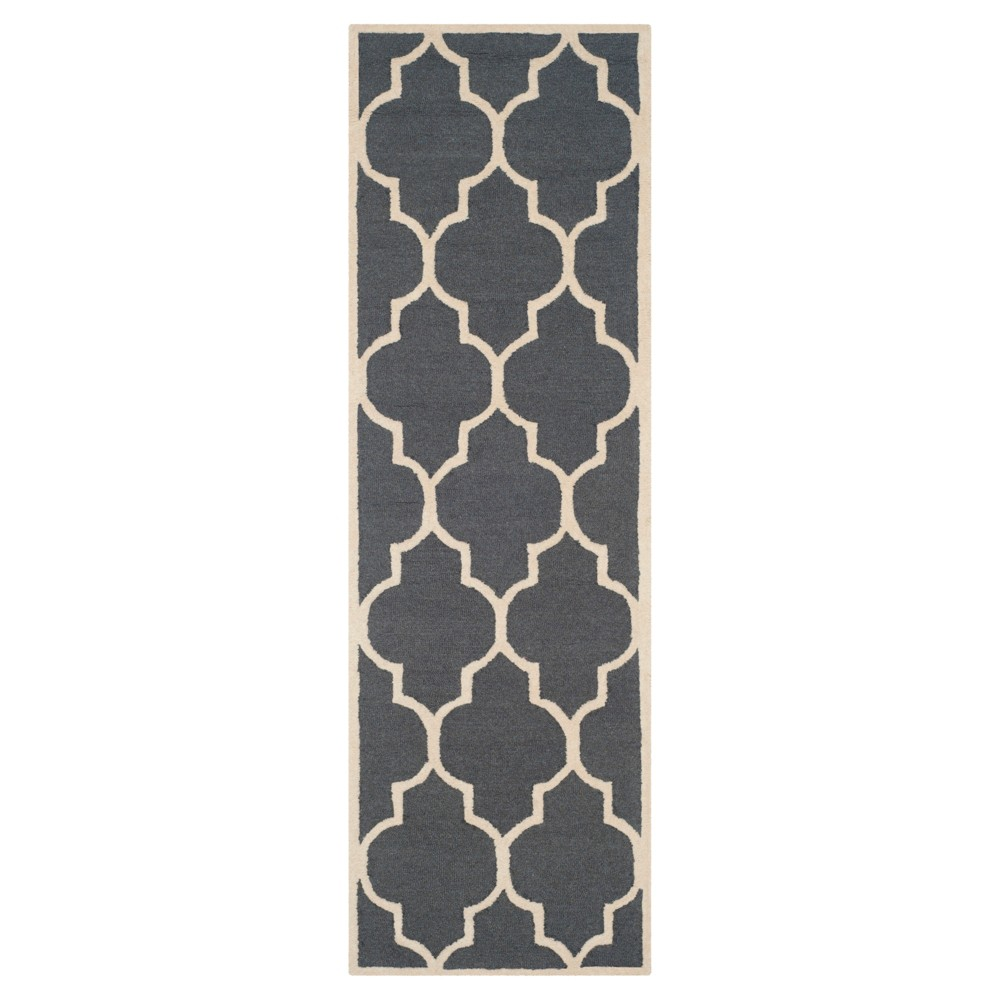 2'6X14' Geometric Runner Dark Gray/Ivory - Safavieh
