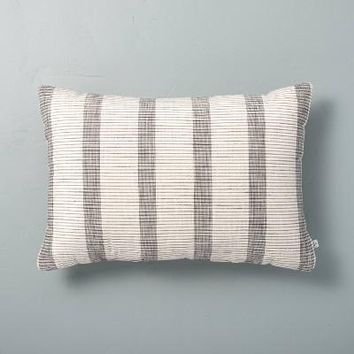 "14"" x 20"" Bold Textured Stripe Lumbar Throw Pillow Sour Cream/Railroad Gray - Hearth & Hand™ with Magnolia"