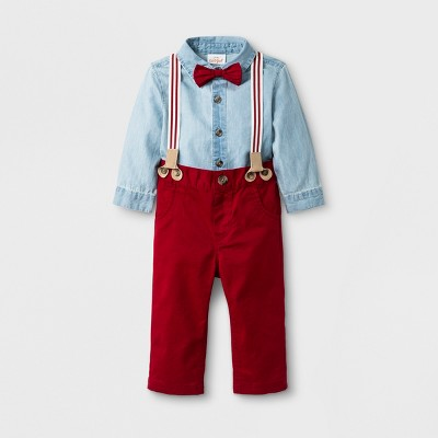 Baby Boys' 3pc Long Sleeve Chambray Bodysuit, Twill Pants and Bow Tie - Cat & Jack™ Red 6-9M