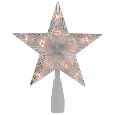"Northlight 7.25"" Clear and White 5-Point Star Traditional Christmas Tree Topper - Clear Lights"