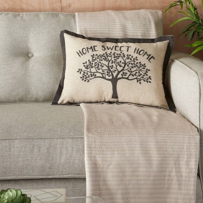 "14""x20"" Home Sweet Home Tree Throw Pillow Natural - Kathy Ireland Home"