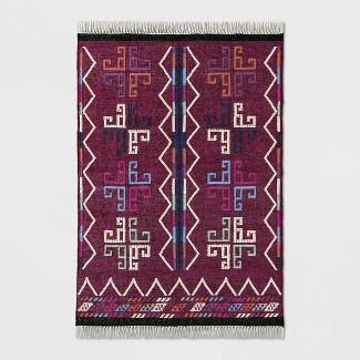 Deep Pink Flatweave Dhurrie Geometric Fringed Woven Area Rug 5'X7' - Opalhouse™