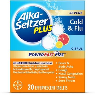 Alka-Seltzer Plus NSAID Powerfast Fizz Cold & Flu Tablet - Citrus - 20ct