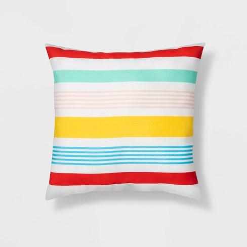 16 Variegated Stripe Throw Pillow Redyellowblue Sun Squad Target