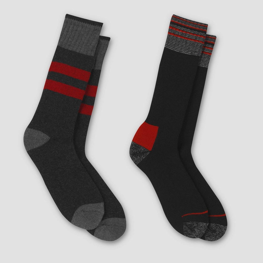 Image of Men's Outdoor Heavyweight Wool Blend Crew Socks 2pk - C9 Champion Red Sign 6-12, Size: Small