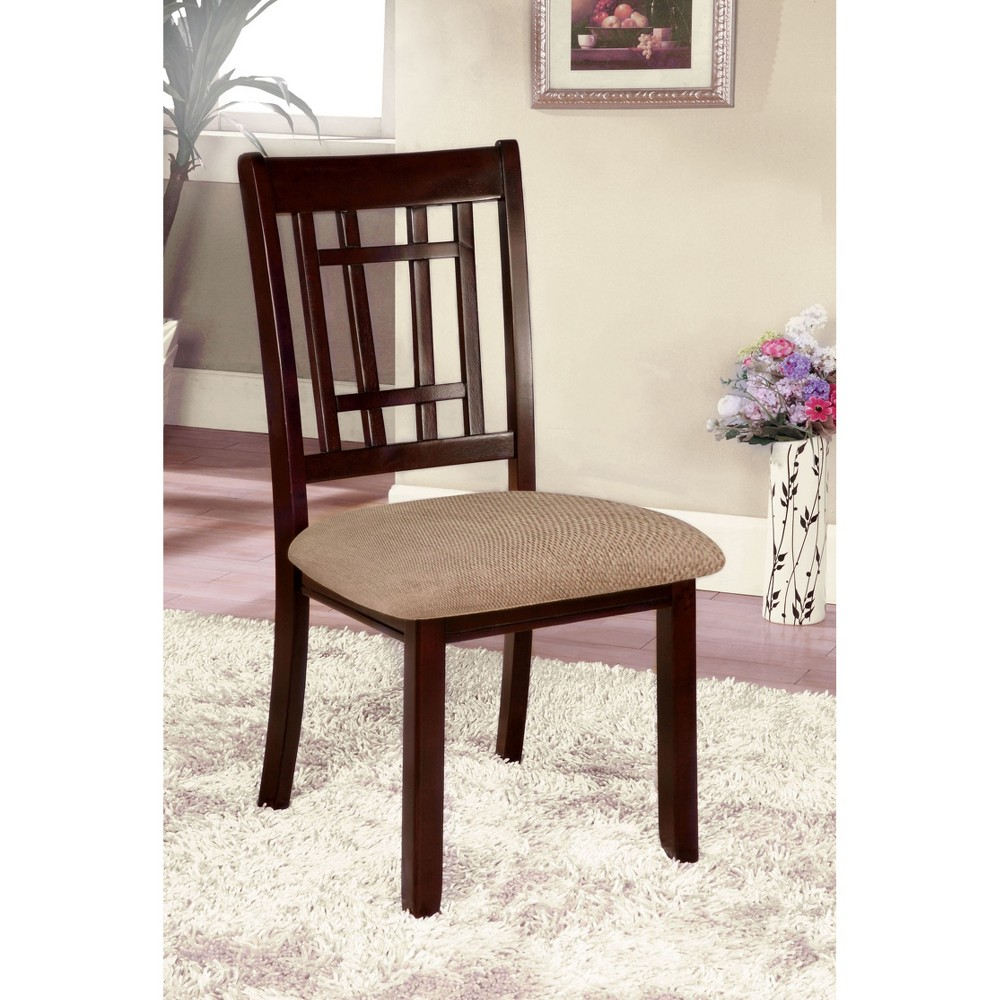 ioHomes Gridded Ladder Back Side Chair Wood/Dark Cherry (Set of 2)