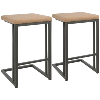 Set of 2 Roman Industrial Counter Height Barstool Gray/Camel - LumiSource