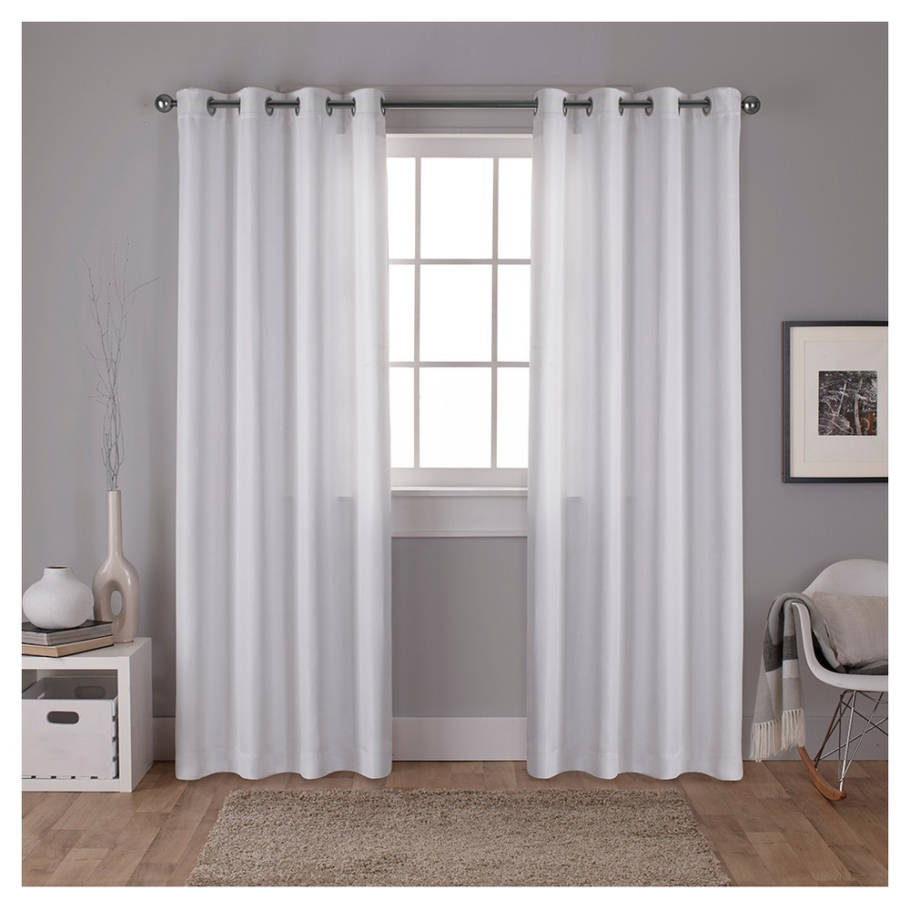 Carling Woven Blackout Curtain Panels White (52