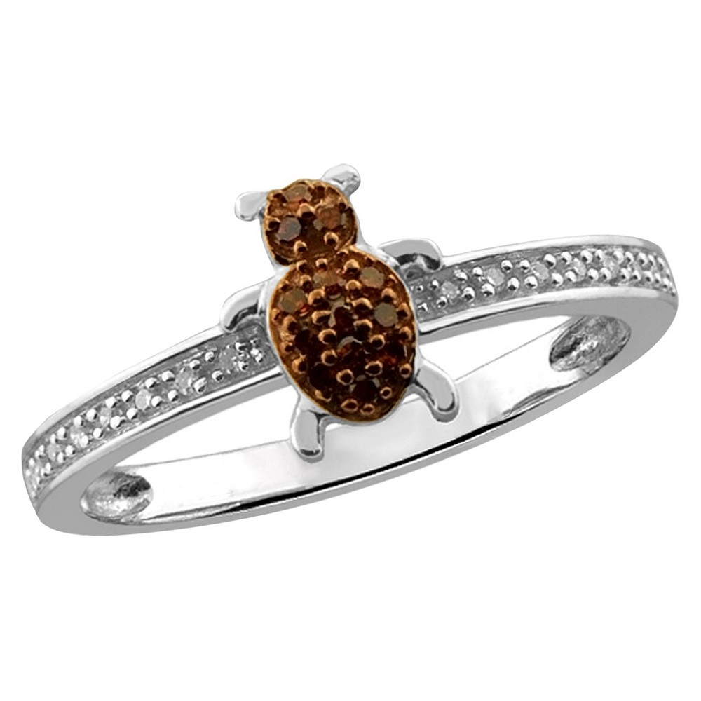 1/10 CT. T.W. Round-Cut Red and White Diamond Prong Set Bug Ring - White (6)