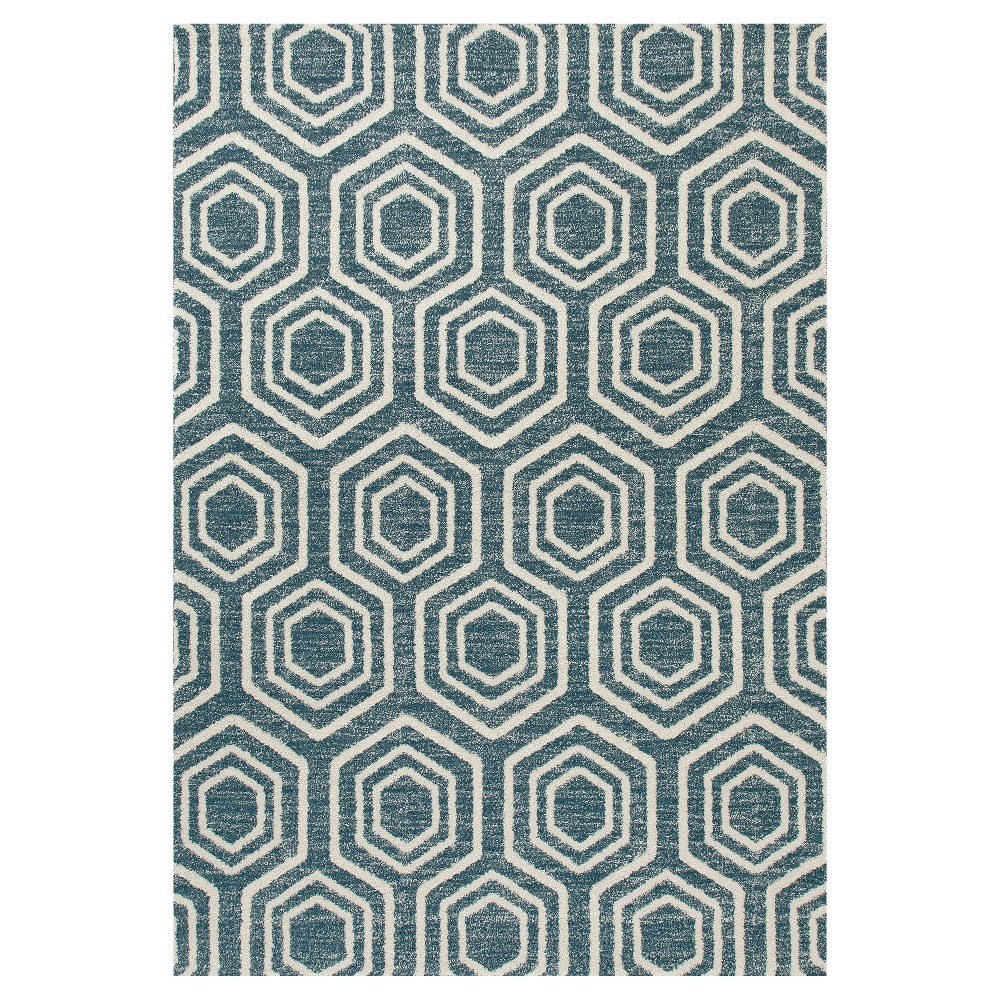Image of Aqua Abstract Woven Area Rug - (5'X8') - Art Carpet, Blue