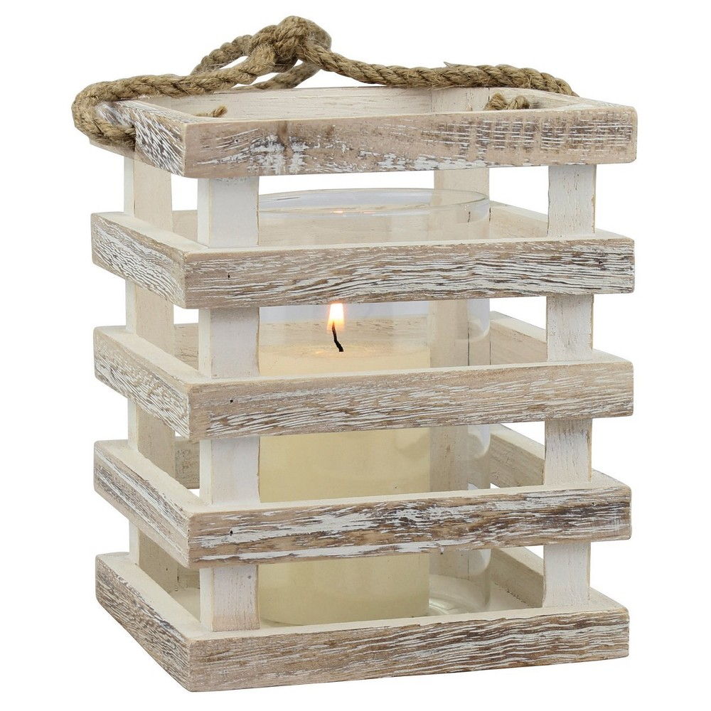 "Image of ""5.9"""" Weathered Candle Holder Lantern - CKK Home Decor, White"""