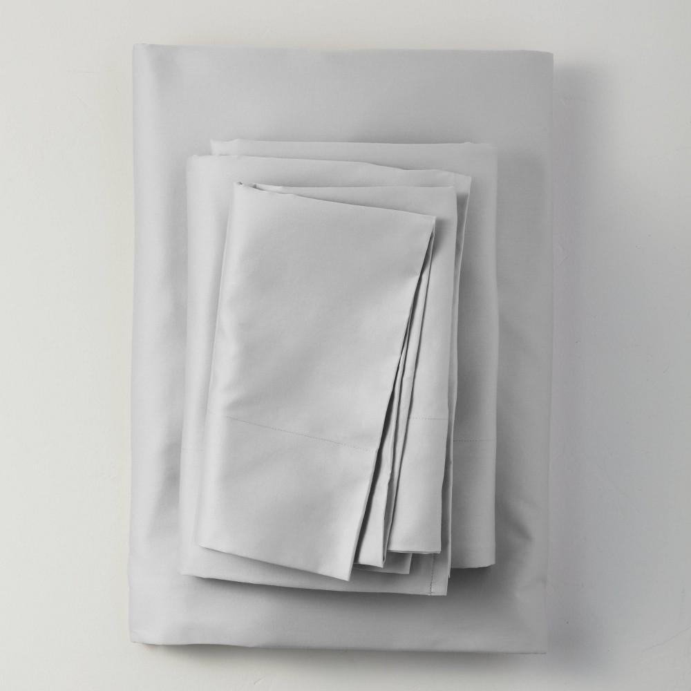 California King 500 Thread Count Washed Supima Sateen Solid Sheet Set Light Gray Casaluna 8482