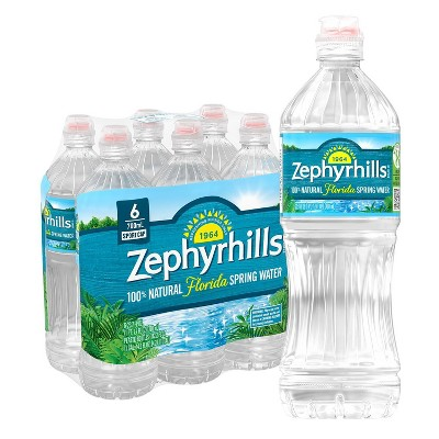 Zephyrhills Brand 100% Natural Spring Water - 6pk/23.7 fl oz Sport Cap Bottles