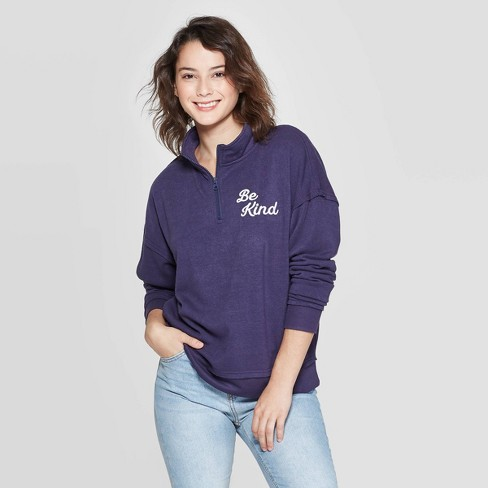 Women's Be kind Long Sleeve 1/4 Zip Sweatshirt - Grayson Threads (Juniors') - Navy  - image 1 of 2