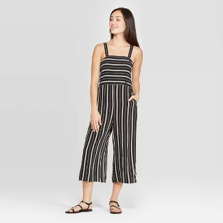 Women's Striped Sleeveless Side Button Cropped Jumpsuit - Xhilaration™ Black/Ivory XS