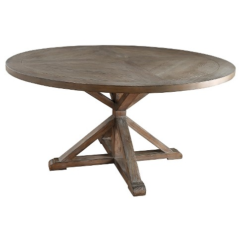 Sierra Round Dining Table Wood Brown Inspire Q