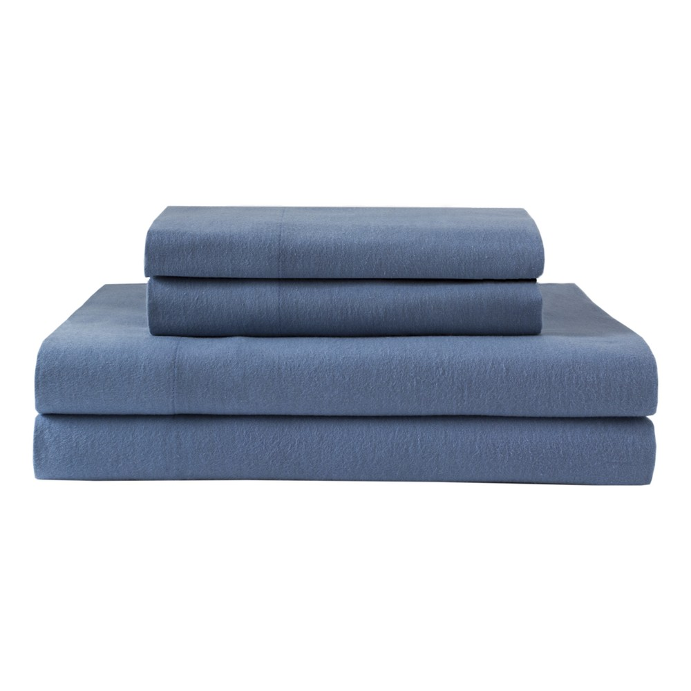 Winter Nights Cotton Flannel Sheet Set (King) Solid Blue - Elite Home
