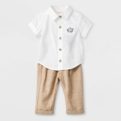 Baby Boys' 2pc Woven Top & Bottom Set - Cat & Jack™ White/Khaki Newborn