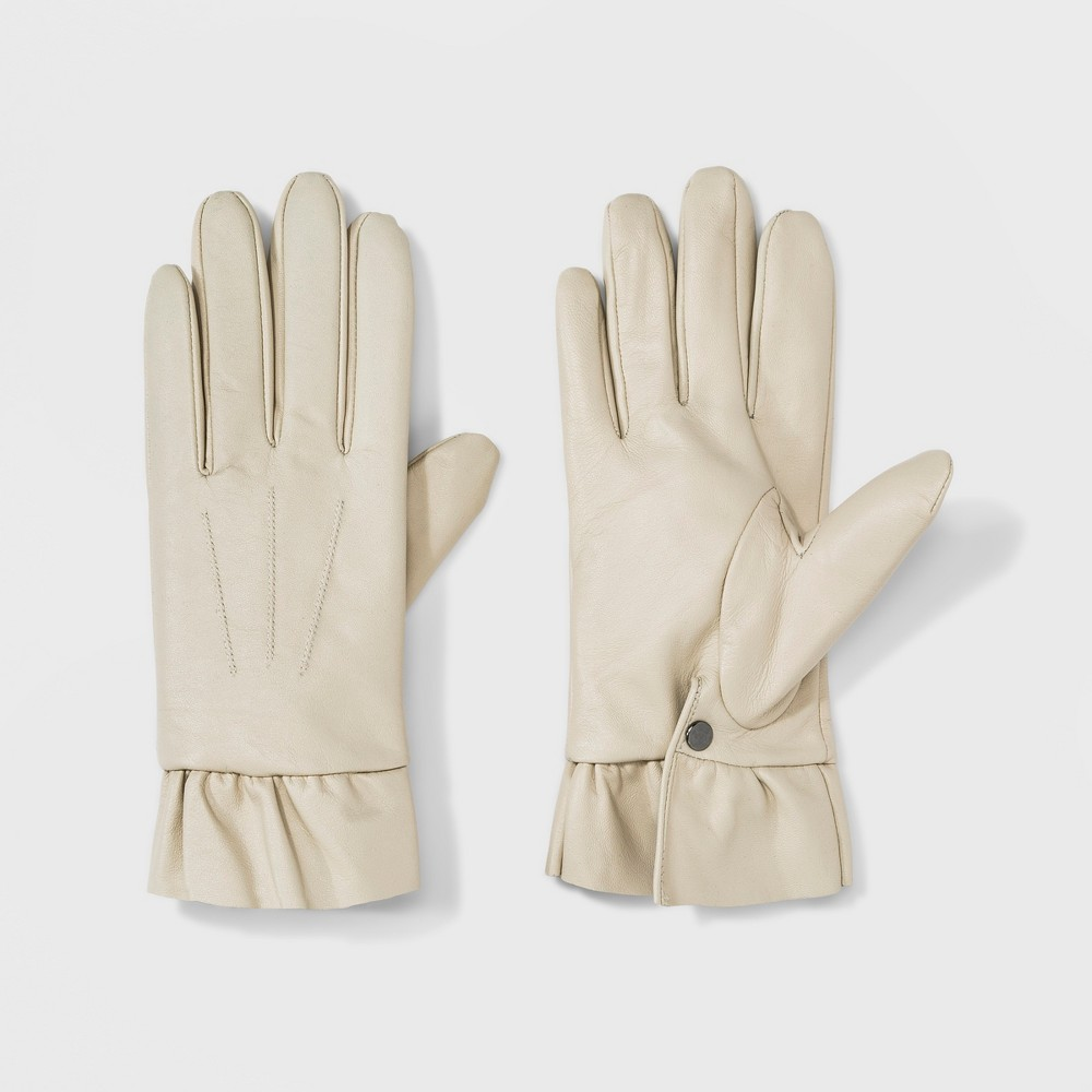 Vintage Style Gloves- Long, Wrist, Evening, Day, Leather, Lace Womens Leather Ruffle Wrist Gloves - A New Day White ML Ivory $29.99 AT vintagedancer.com