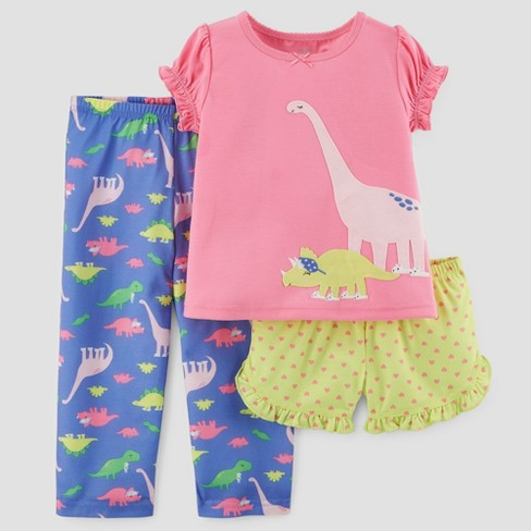 Toddler Girls  3pc Short Sleeve Dinosaur Pajama Set - Just One You® made by  carter s Pink a1efcd7e5