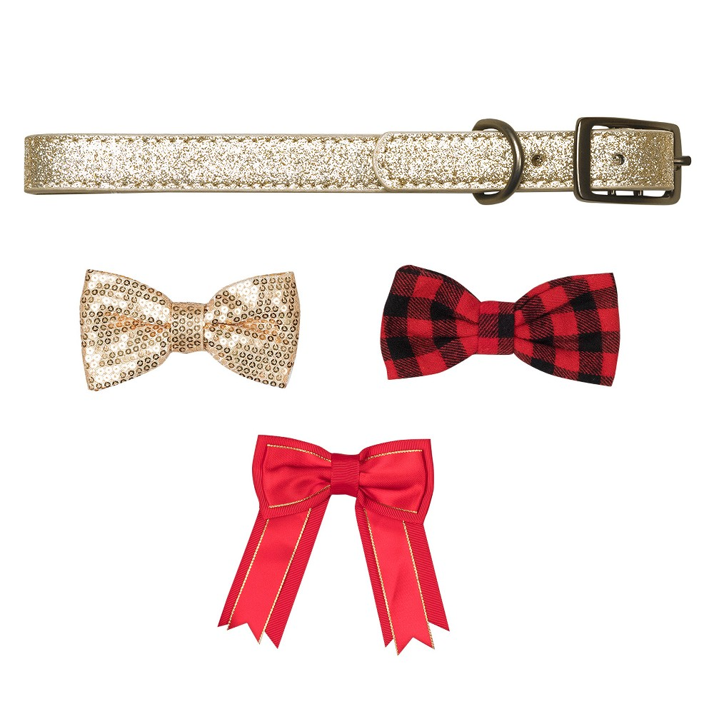 Bow & Arrow Gold Glitter with Bow Tie Accessories Dog Collar - L