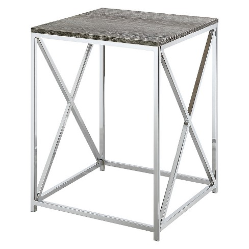 Belaire End Table - Chrome - Weathered Gray - Convenience Concepts - image 1 of 4