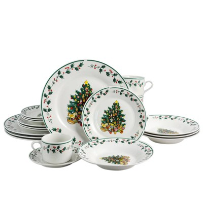 Gibson Home 20pc Ceramic Christmas Tree Trimming Dinnerware Set
