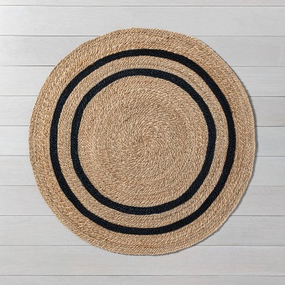 5' Round Jute Stripe Rug Charcoal - Hearth & Hand™ with Magnolia