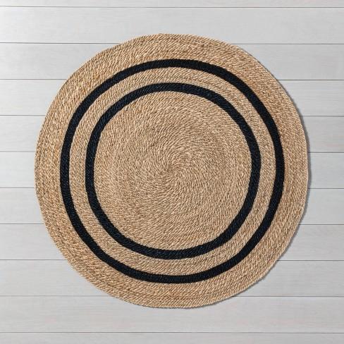 5 Round Jute Stripe Rug Hearth, Round Straw Rattan Rug