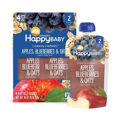 HappyBaby Clearly Crafted Apples Blueberries & Oats Baby Meals -(Select Count)