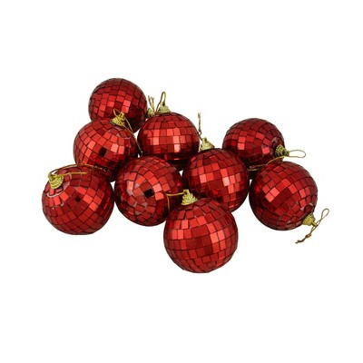 "Northlight 9ct Mirrored Glass Disco Ball Christmas Ornament Set 2.5"" - Red"