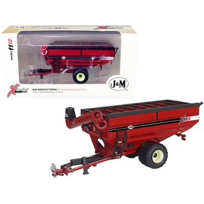 J&M 1112 X-Tended Reach Grain Cart with Single Wheels Red 1/64 Diecast Model by SpecCast