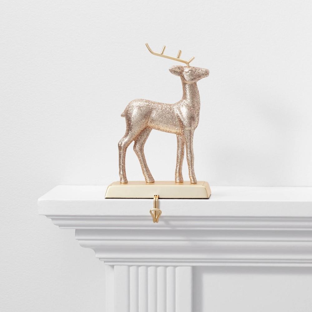 Image of 1ct Glitter Deer Christmas Stocking Holder Gold - Wondershop