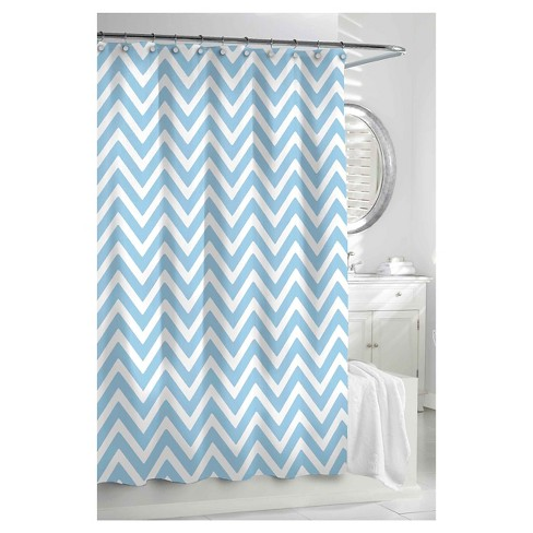 Chevron Shower Curtain Spa Blue White