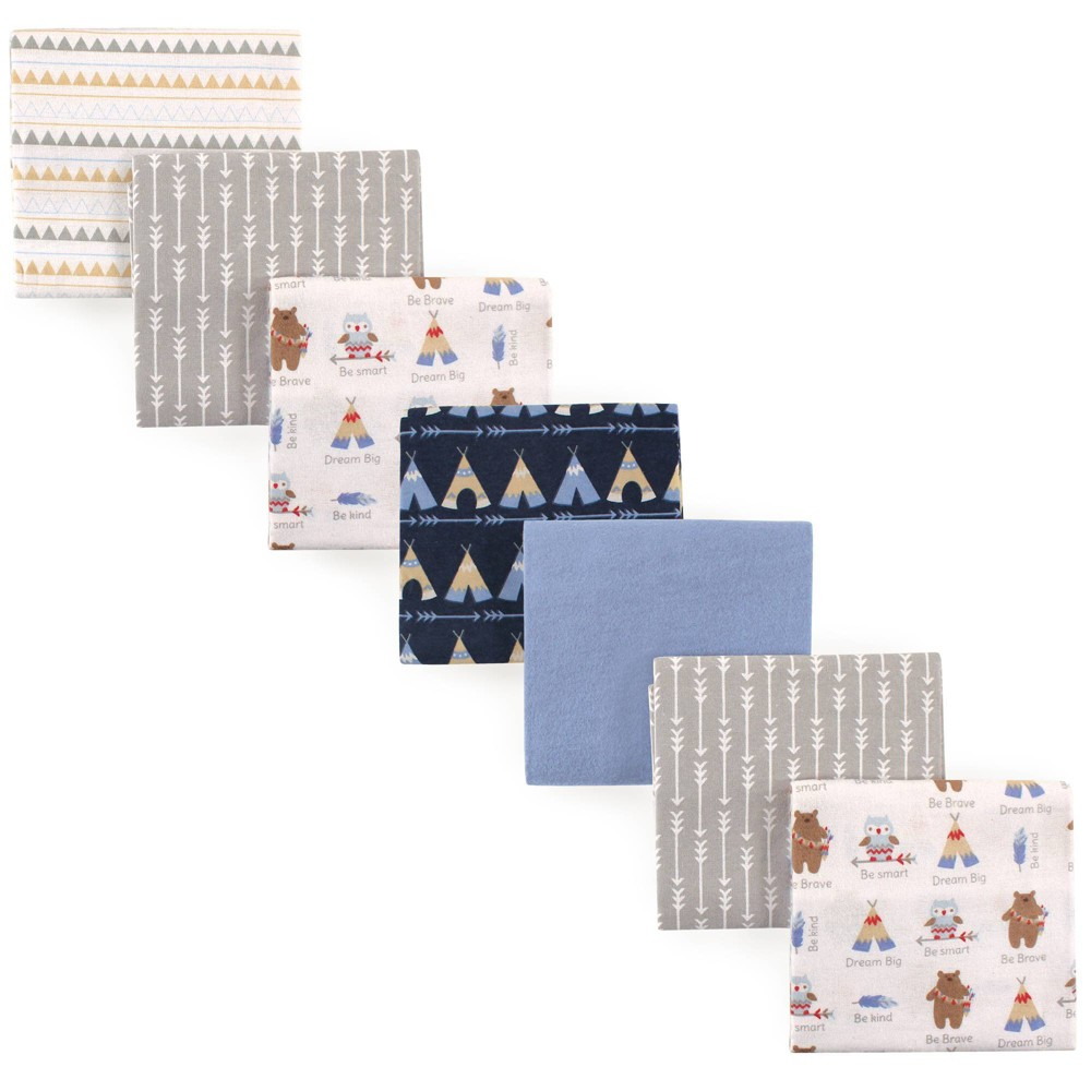 Luvable Friends Unisex Baby Cotton Flannel Receiving Blanket Tribe One Size 7pc