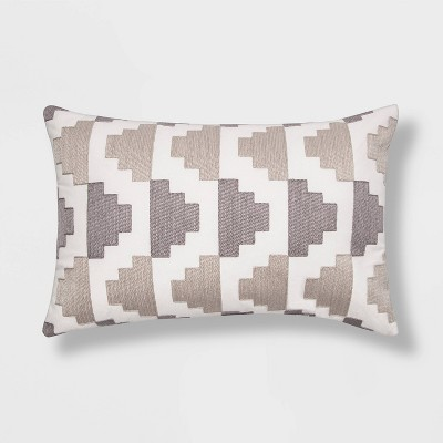 Embroidered Modern Pattern Lumbar Throw Pillow Gray - Project 62™