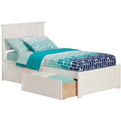 Madison Twin Flat Panel Foot Board w/ 2 Urban Bed Drawers White - Atlantic Furniture