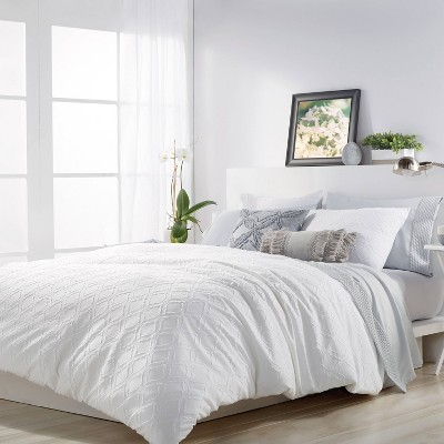 Full/Queen 3Pc Solid Ogee Comforter Set White - Microsculpt