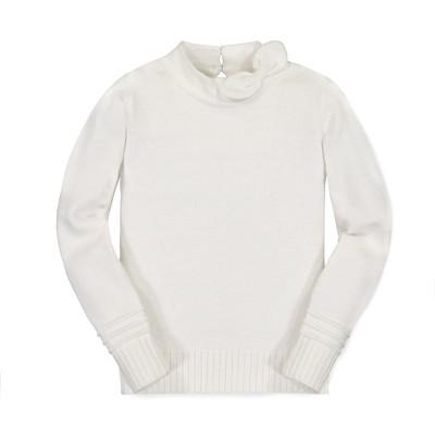 Hope & Henry Girls' Long Sleeve Scarf Neck Sweater, Infant