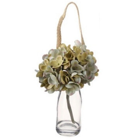 """Raz Imports 8.5"""" Green Hanging Hydrangea with Glass Jar Artificial Spring Stem - image 1 of 1"""
