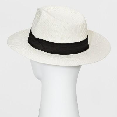 Men's Pleated Washed Fedora - Goodfellow & Co Ivory M/L, Size: Medium/Large, White