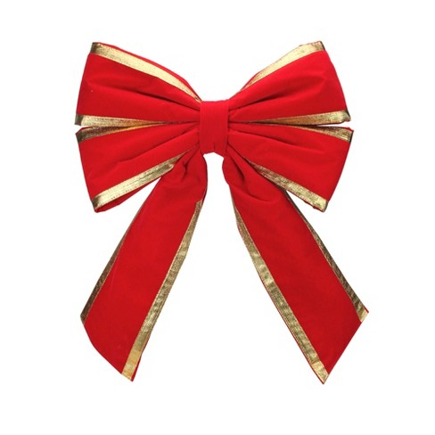 Northlight 31 Red And Gold Loop Velveteen Trim Christmas Bow Target