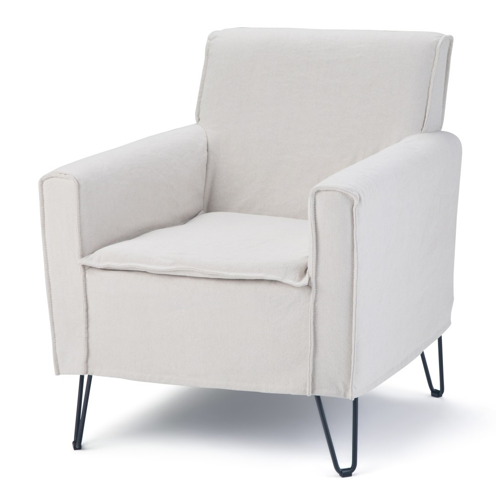 "Image of ""28"""" Edward Accent Chair White Linen Fabric - Wyndenhall"""