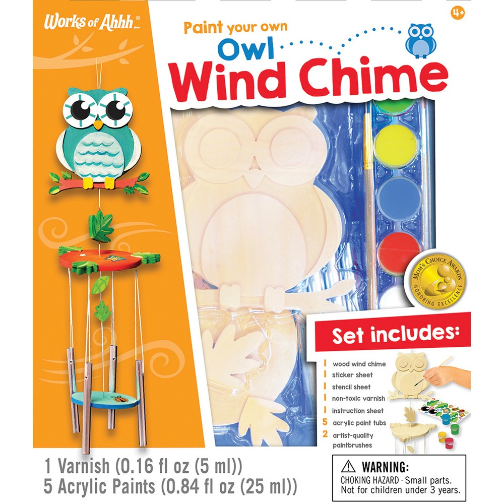 MasterPieces Paint Your Own Owl Wind Chime, Natural Wood