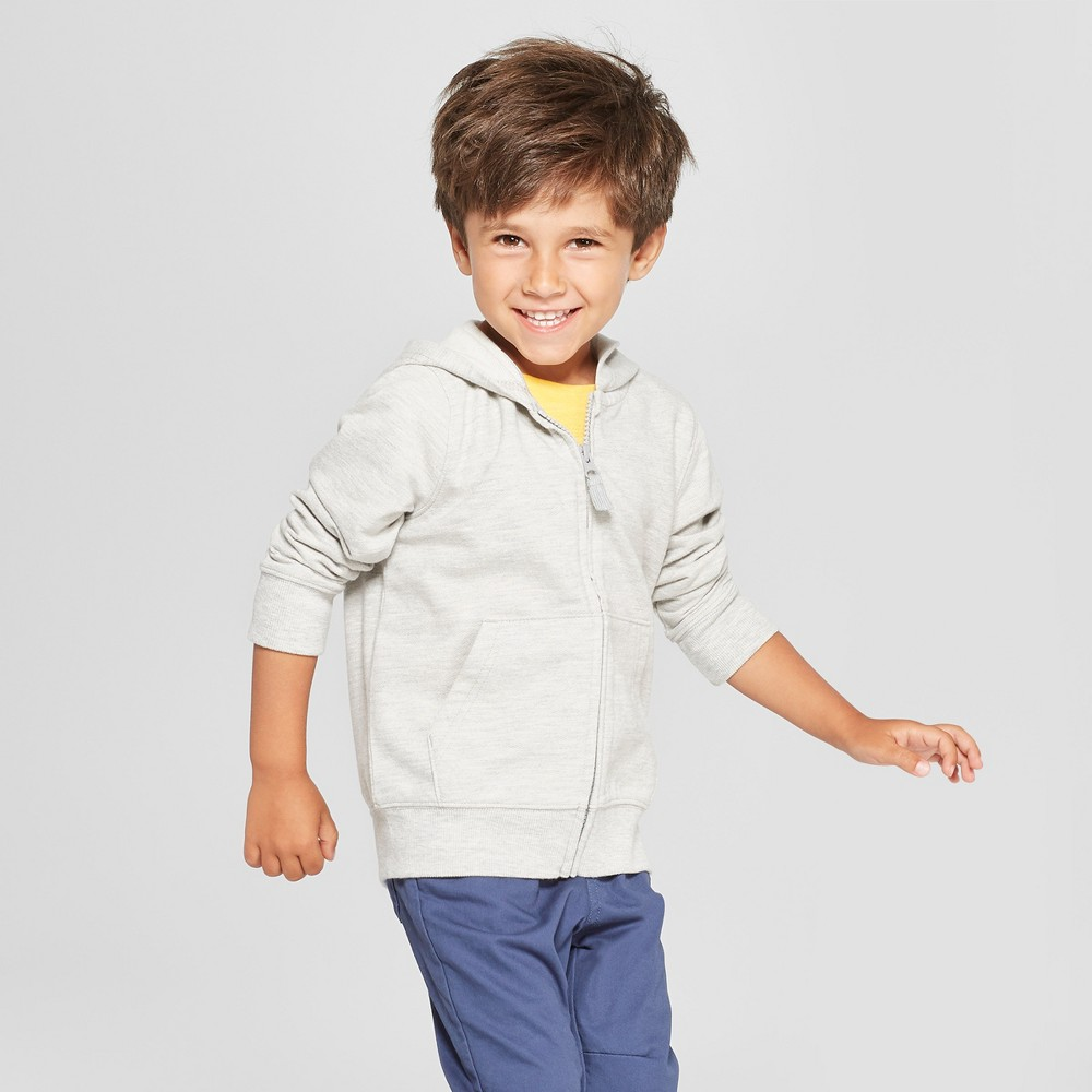 Toddler Boys' Long Sleeve Zip-Up Hoodie - Cat & Jack Heather Gray 3T