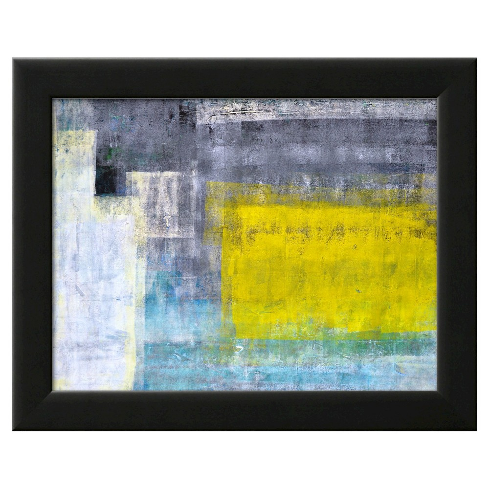 Art.com Framed Wall Poster Print Gray-Teal And Yellow Abstract Art Painting - Yellow/Gray